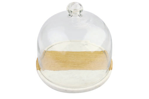 White Marble & Wood Glass Cloche - Mudpie San Francisco