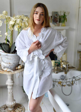 White Scalloped Edge Dressing Gown/Robe Adult