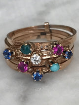 Art Deco Diamond & Multi Gem Stone Stacked Ring