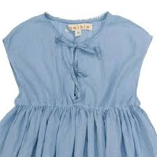 Blue Linen Dress w/Ribbon Ties - Mudpie San Francisco