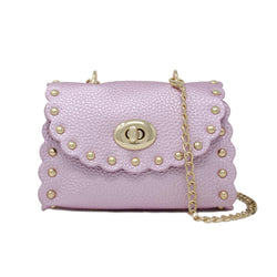 Soft Pink Scalloped and Studded Bag - Mudpie San Francisco