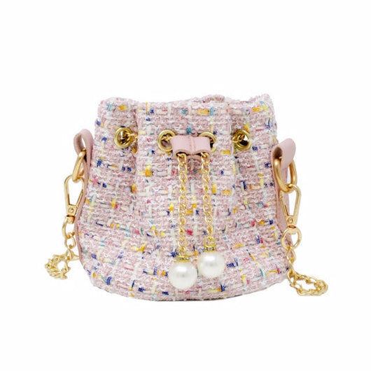Woven Drawstring Bag with Pearl Detail - Mudpie San Francisco