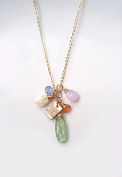 Multi-Gem Necklace with Pearl - Mudpie San Francisco