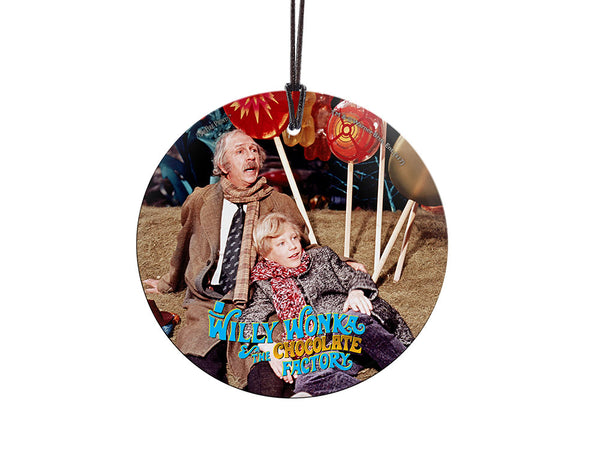 Willy Wonka and the Chocolate Factory™ (Charlie and Grandpa Joe) Starfire Prints™ Hanging Glass Decoration