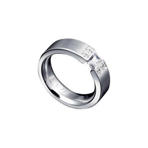 B.Tiff Amikoj 1/3 ct Emerald Cut Stainless Steel Tension Set and Pavé Ring