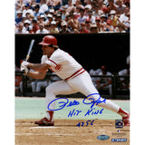 Pete Rose Signed Swinging 8x10 Photo w Hit King 4256 Insc