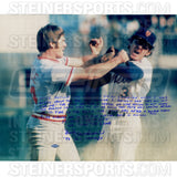 Bud Harrelson Signed Fighting w Pete Rose 16x20 Story Photo