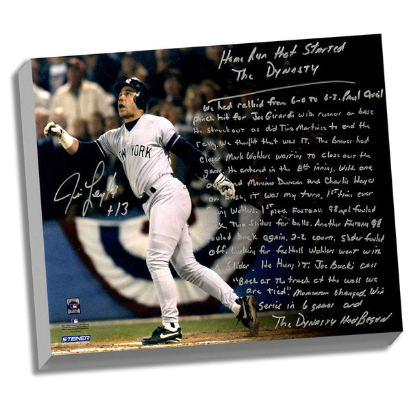 Jim Leyritz Facsimile Dynasty Home Run Stretched 22x26 Story Canvas