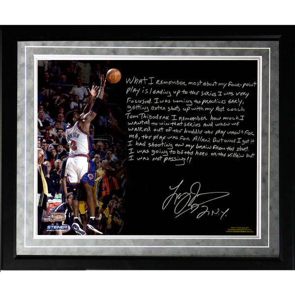 Larry Johnson Facsimile 4 Point Play Framed Metallic 16x20 Story Photo