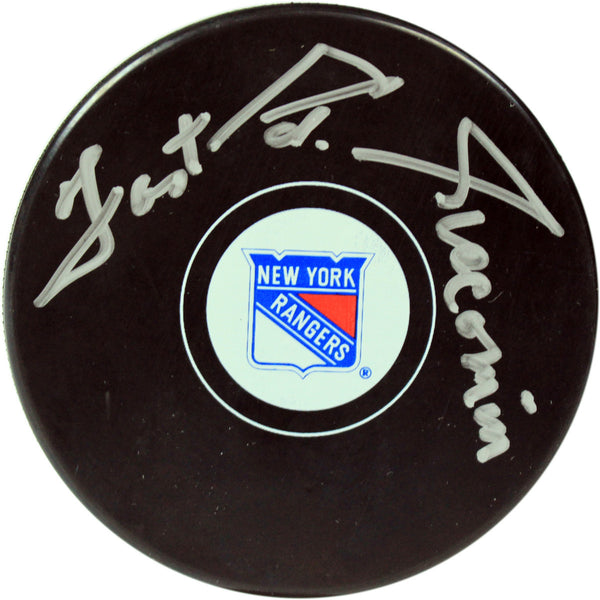 Eddie Giacomin Signed New York Rangers Logo Puck w Fast Ed Giacomin Insc