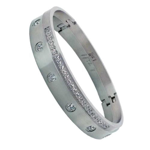 B.Tiff Brighter than Diamond Stainless Steel Pave 2 Bangle Bracelet Double Stack