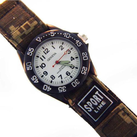 Geneva Sport Line Camouflage Ladies Watch Tan Grn Velcro Quartz Water Resistant