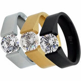 B.Tiff 2 ct Round Stainless Steel Solitaire Engagement Tension Set Ring Sizes 4 -10