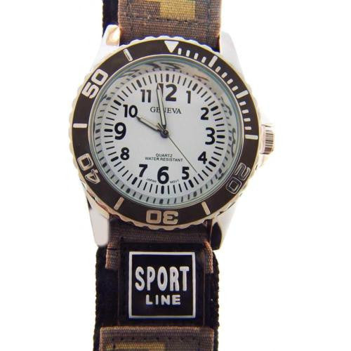 Geneva Sport Line Camouflage Mens Watch Tan Grey Velcro Quartz Water Resistant