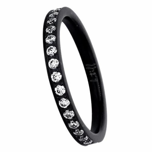 BTiff Brighter than Diamond Stacking Eternity Ring Black Gold Steel Rose Gold