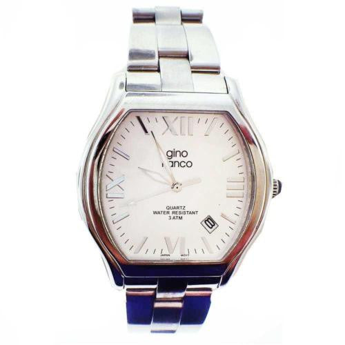 Preowned Gino Franco Mens 937CH Cushion Shaped Stainless Steel Bracelet Watch