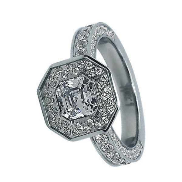 B.Tiff Aŭreolo II 1 ct Stainless Steel Cushion Cut Halo Engagement Ring 2.5Ct Total Ring
