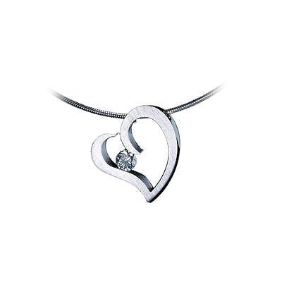 BTiff Signity Star Brighter than Diamond Tension Set Steel Heart Pendant with Necklace