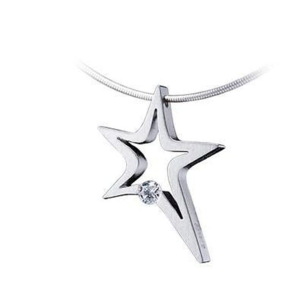 B.Tiff Signity Star Brighter than Diamond Tension Set Stain Steel Stelo Pendant