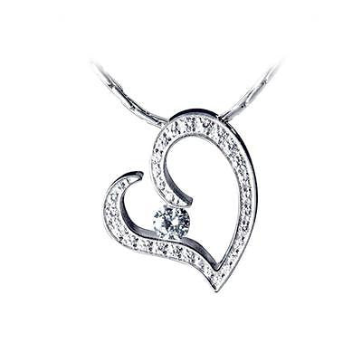 B.Tiff Stainless Steel Pave Heart Pendant Necklace Tension Set