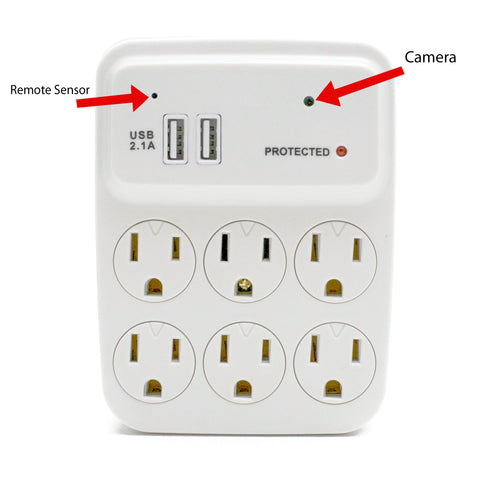 Wall Outlet Adapter Hidden Camera 1920 x 1080 Free 16GB MicroSD Included