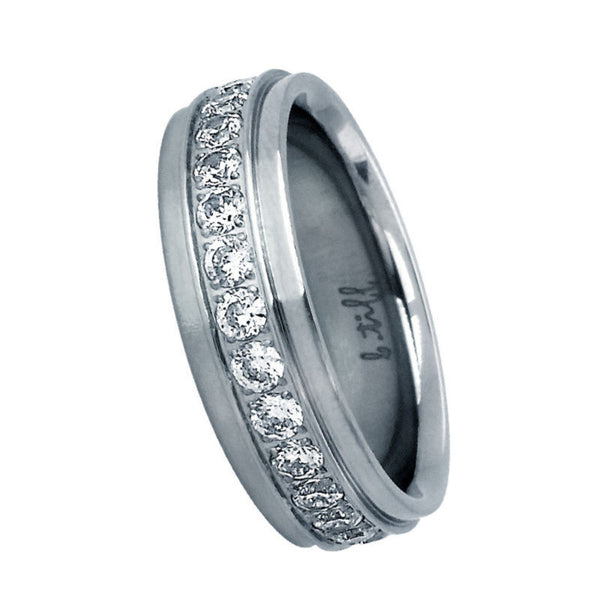 B.Tiff .02 ct Center Row Wide Stainless Steel Pave Eternity Ring Stainless Steel