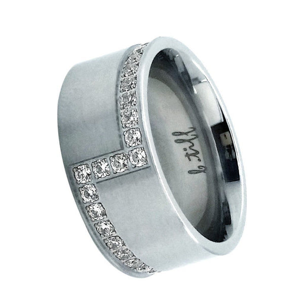 Pave Set Cross Body Stainless Steel Eternity Ring Sizes 5-12