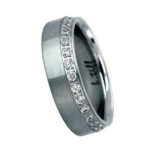 B.Tiff Diamond Alternative Stainless Steel Offset Wide Eternity Ring