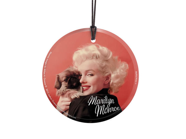 Marilyn Monroe (Oriental Gown and Pekinese) StarFire Prints™ Hanging Glass