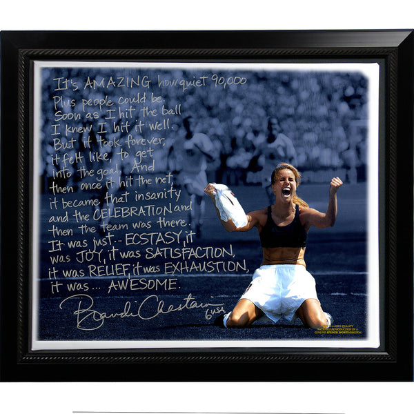 Brandi Chastain Facsimile World Cup Game Winning Penalty Kick Story Stretched Framed 22x26 Story Canvas
