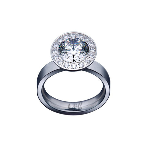 B.Tiff Aŭreolo 2 ct Stainless Steel Round Halo Engagement Ring Sizes 4 - 9