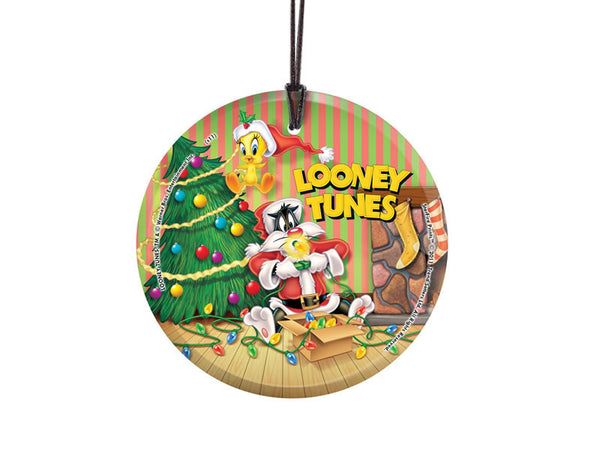 Looney Tunes™ (Sylvester and Tweetys Xmas) StarFire Prints™ Hanging Glass