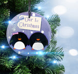 Christmas Collection (Penguins 1st Christmas) StarFire Prints Hanging Glass Ornament
