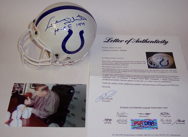 Johnny Unitas Autographed Hand Signed Baltimore Colts Authentic Mini Helmet - PSA/DNA