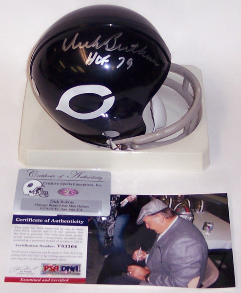 Dick Butkus Autographed Hand Signed Bears 2-Bar Mini Helmet - PSA/DNA