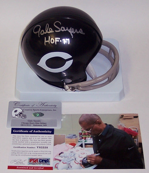 Gale Sayers Autographed Hand Signed Bears 2-Bar Mini Helmet - PSA/DNA