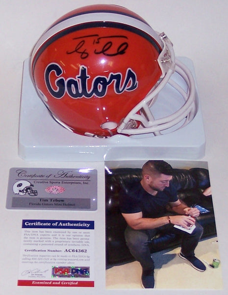 Tim Tebow Autographed Hand Signed Florida Gators Mini Helmet - PSA/DNA