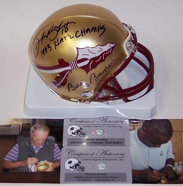 Bobby Bowden & Derrick Brooks Autographed Hand Signed Florida State Seminoles Mini Helmet - PSA/DNA