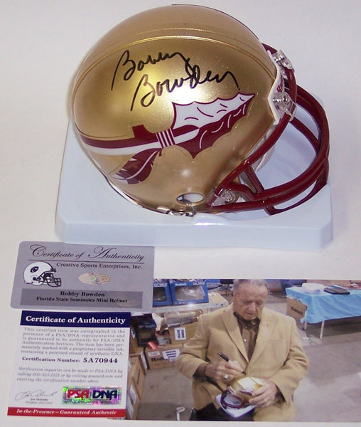 Bobby Bowden Autographed Hand Signed Florida State Seminoles Mini Helmet - PSA/DNA