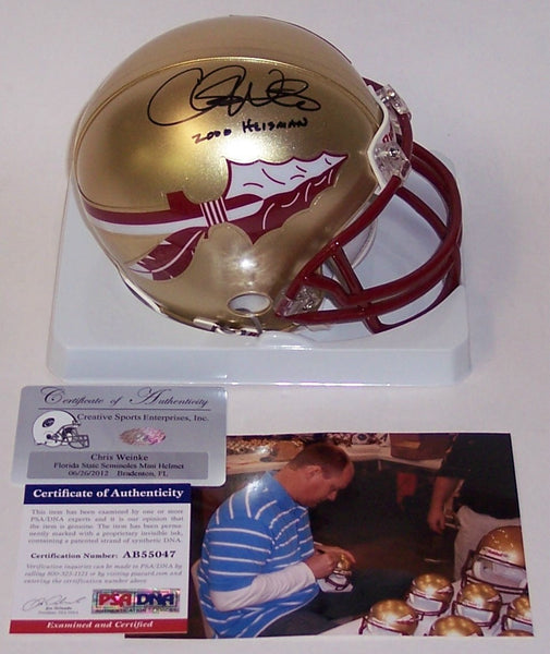 Chris Weinke Autographed Hand Signed FSU Florida State Seminoles Mini Helmet - PSA/DNA