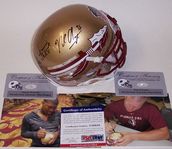Jameis Winston & Nick O'Leary Autographed Hand Signed Florida State Seminoles Mini Helmet - PSA/DNA