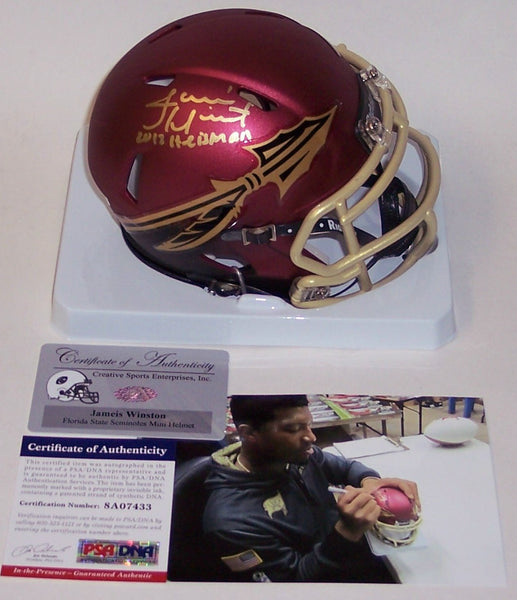 Jameis Winston Autographed Hand Signed Florida State Seminoles Garnet Speed Mini Helmet - PSA/DNA