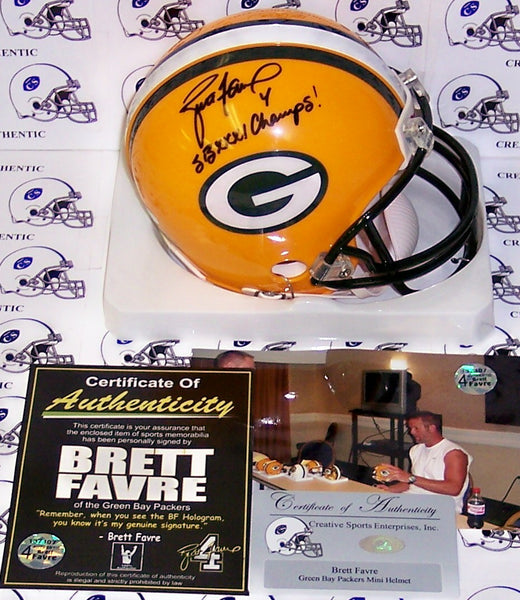 Brett Favre Autographed Hand Signed Packers Mini Helmet - PSA/DNA