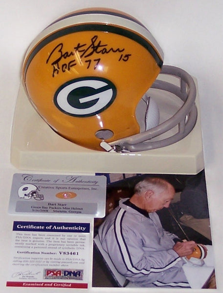 Bart Starr Autographed Hand Signed Packers Mini Helmet - PSA/DNA