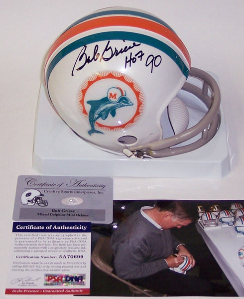 Bob Griese Autographed Hand Signed Dolphins 2-Bar Mini Helmet - PSA/DNA