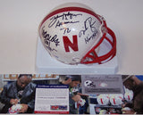 Eric Crouch, Mike Rozier & Johnny Rodgers Autographed Hand Signed Nebraska Cornhuskers Mini Helmet - PSA/DNA