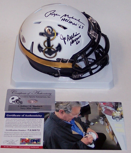Joe Bellino & Roger Staubach Autographed Hand Signed Navy 2012 Special Speed Mini Helmet - PSA/DNA