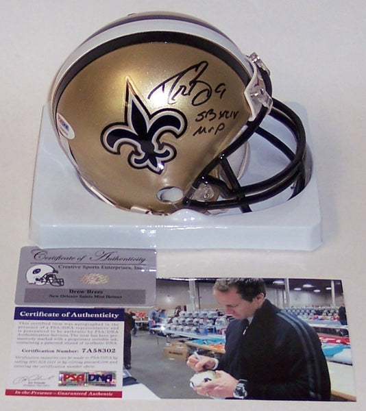 Drew Brees Autographed Hand Signed Saints Mini Helmet - PSA/DNA