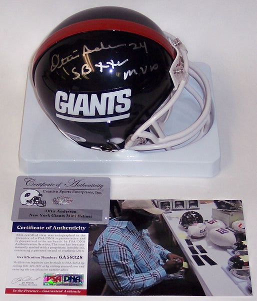 Ottis Anderson Hand Signed Giants Mini Helmet - PSA/DNA