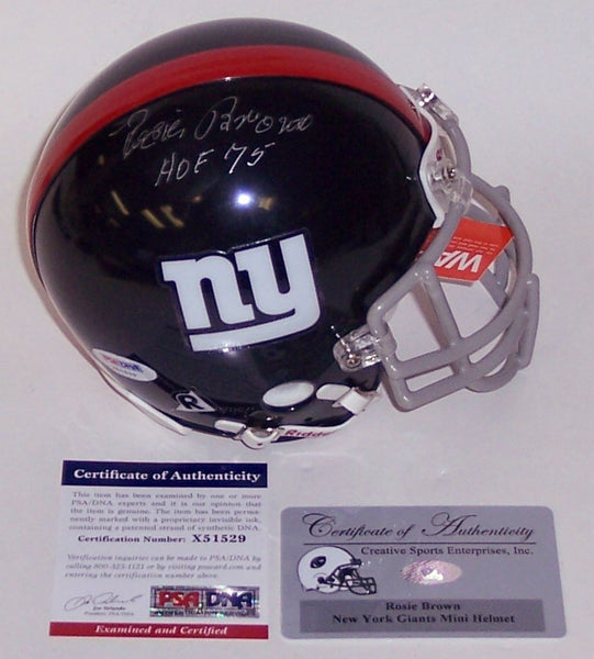 Rosie Brown Autographed Hand Signed Giants Authentic Mini Helmet - PSA/DNA